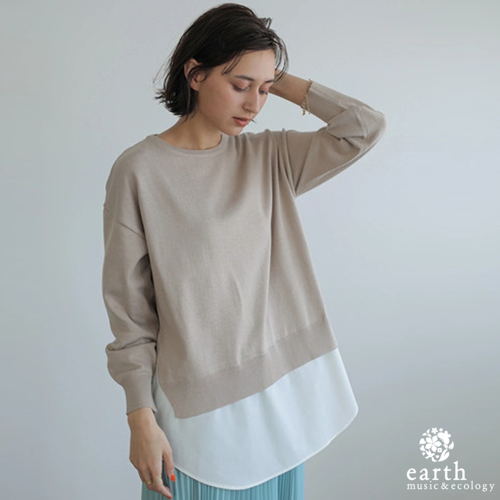 earth music 異素材拼接分層式上衣