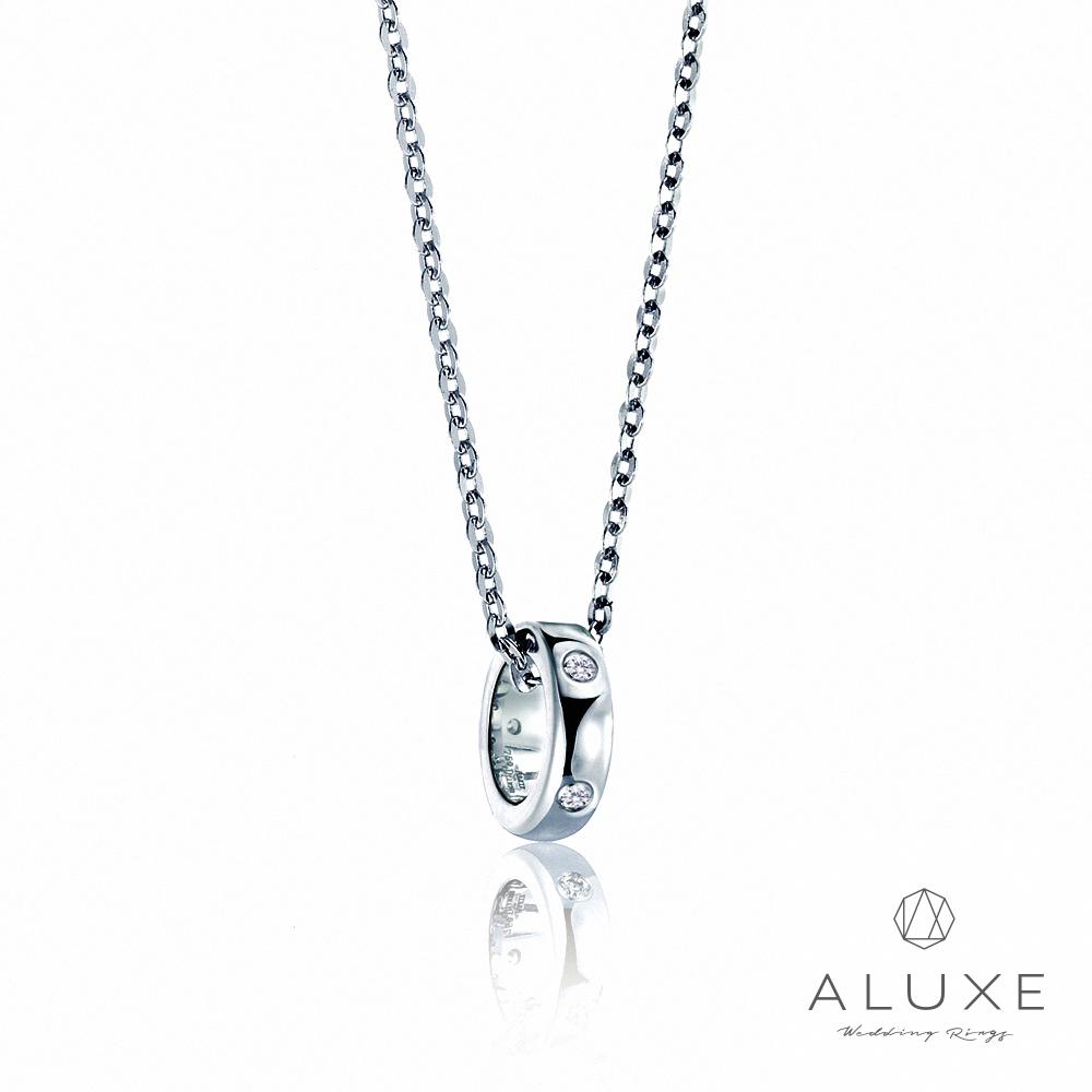 ALUXE亞立詩 Petite系列 Single白K金美鑽項鍊