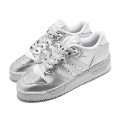adidas 休閒鞋 Rivalry Low 低筒 女鞋 海外限定 愛迪達 三葉草 金屬感 太空 銀 白 EE5930
