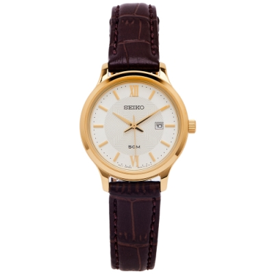 SEIKO 文青風采款的皮革手錶(SUR644P1)-銀面X咖啡色/30mm