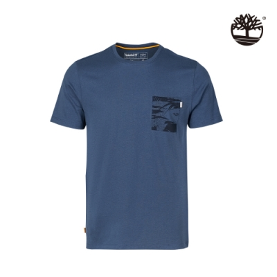 Timberland 男款靛藍色胸前印花口袋有機棉 T恤|A24YC