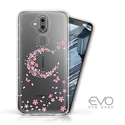 EVO CASE Nokia 8.<b>1</b> 奧地利水鑽彩繪防摔殼-櫻月