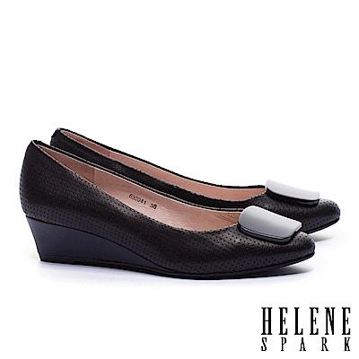 高跟鞋 HELENE SPARK 簡約素雅方釦全真皮楔型高跟鞋-黑