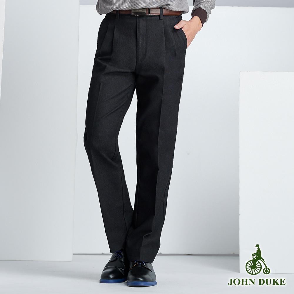 JOHN DUKE 微正式雙折褲_深藍黑/細格(60-8A5580)