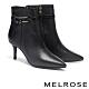 短靴 MELROSE 經典時髦飾釦蛇紋尖頭高跟短靴-黑 product thumbnail 1