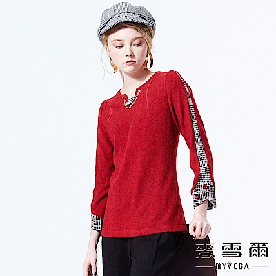 【麥雪爾】千鳥格紋異材質拼接上衣