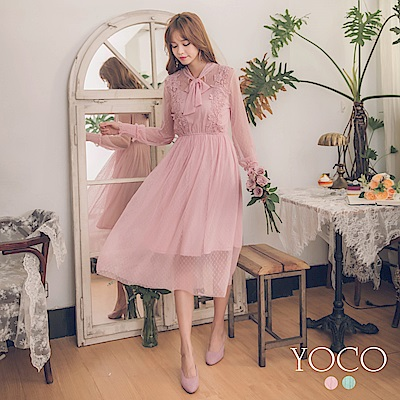 東京著衣-yoco 法式蕾絲花邊點點網紗綁帶長洋裝-S.M.L(共二色)