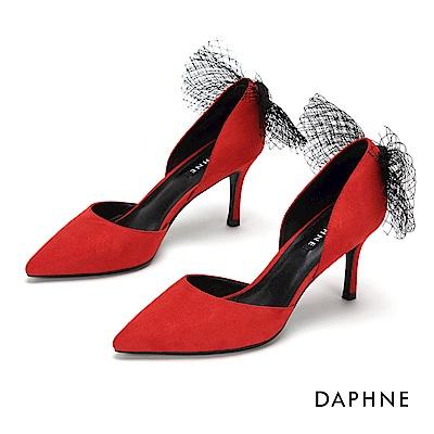 達芙妮DAPHNE 高跟鞋-質感絨面縷空尖頭高跟鞋-紅色