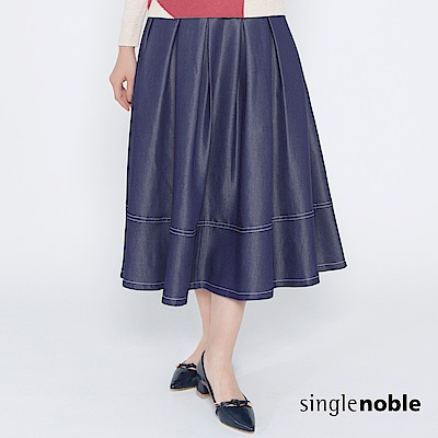 獨身貴族 西部況味撞色縫線百褶中長裙(1色)