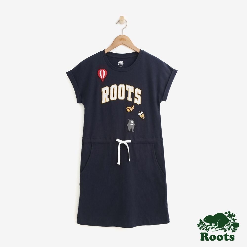 女裝Roots-台灣國慶貼布洋裝-藍