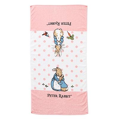 奇哥 圓點比得兔純棉大浴巾-粉紅 (73x142cm)