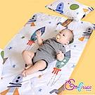 Embrace英柏絲 100%純棉 可洗兒童抗菌除臭三件組 睡墊+涼被+枕頭 搖滾宇宙