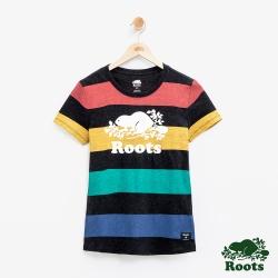 女裝Roots 彩色條紋短袖T恤-黑