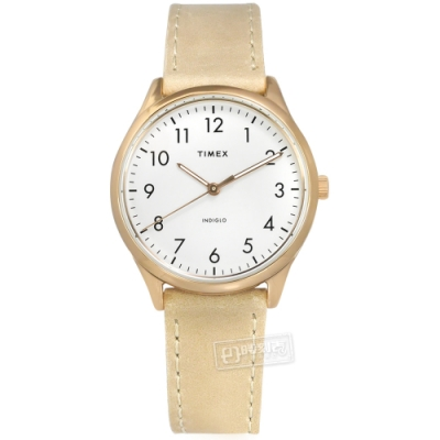 TIMEX 天美時 簡約風格 冷光照明 真皮手錶-白x玫瑰金框x米黃/32mm