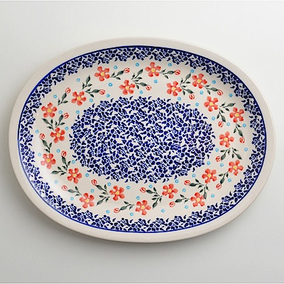 【波蘭陶 Zaklady】 藍印紅花系列 橢圓形餐盤 29cm 波蘭手工製