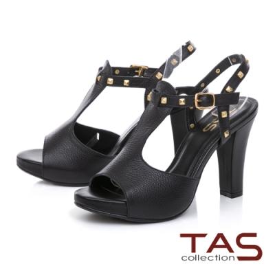TAS金屬鉚釘T字繫帶高跟涼鞋-高貴黑