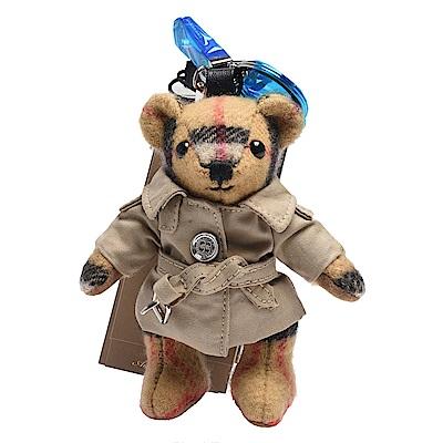 BURBERRY Thomas經典格紋泰迪熊風衣造型鑰匙圈/吊飾(古典黃)