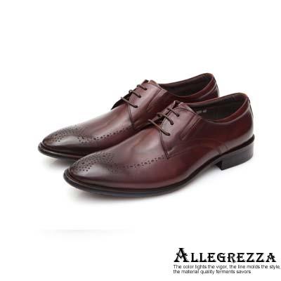 ALLEGREZZA真皮男鞋-復古紳士-鞋面藝紋雕花德比鞋  咖啡紅色