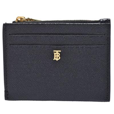 BURBERRY 經典品牌標誌粒紋皮革拉鍊零錢包(黑)