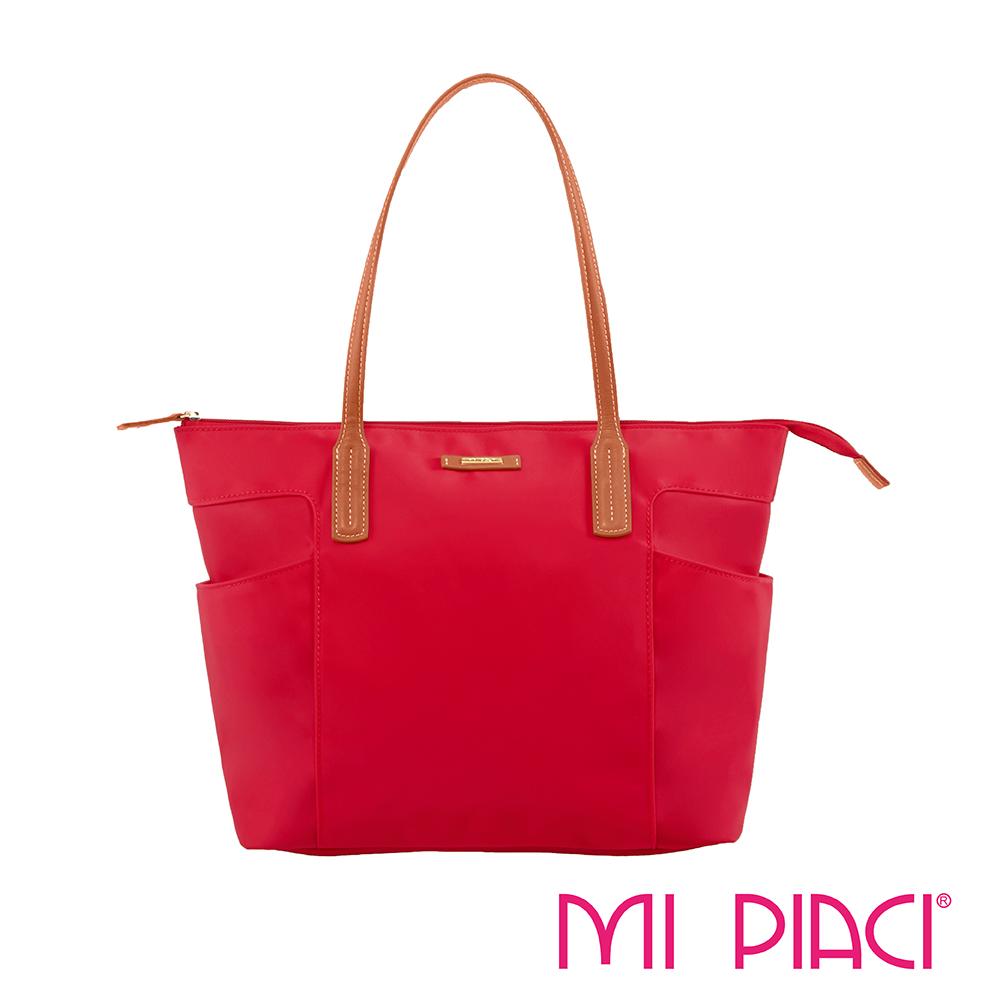 MI PIACI革物心語-雙口袋系列托特包-唇膏紅 1281789