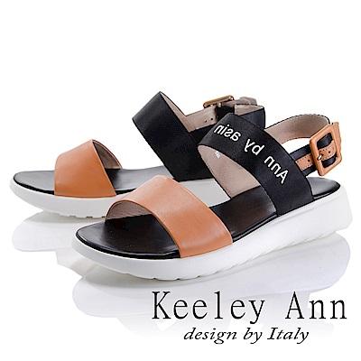 Keeley Ann 韓式風潮~雙色寬帶英文字樣平底涼鞋(棕色-Ann)