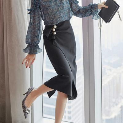 設計所在Lady-黑色中長高腰A字短裙(S-XL可選)