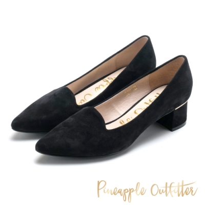 Pineapple Outfitter 時髦雅緻 低調金條粗跟鞋-絨黑