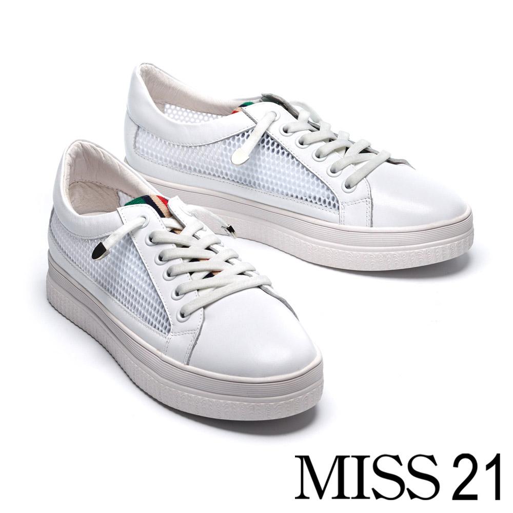休閒鞋 MISS 21 異材質拼接個性潮感彈力鬆緊鞋帶厚底休閒鞋-白