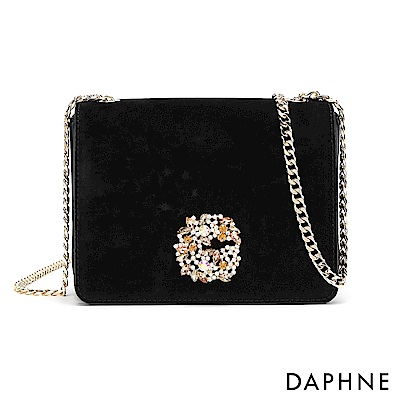 達芙妮DAPHNE-水鑽花飾鏈帶小方包-黑