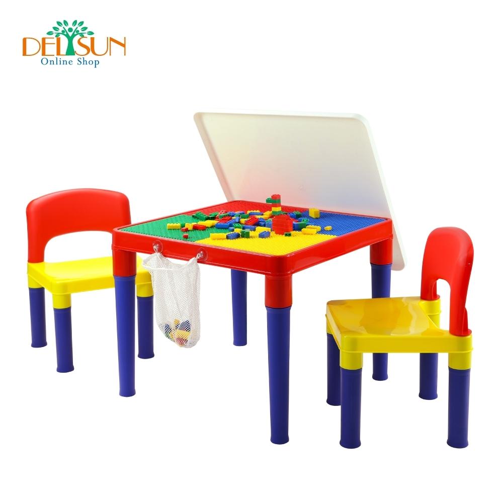 DELSUN 白板積木桌椅組 繽紛彩虹