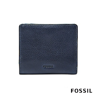 FOSSIL EMMA 真皮RFID迷你短夾-海軍藍