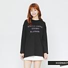 H:CONNECT 韓國品牌 女裝-文字休閒長袖T-shirt-黑(快)