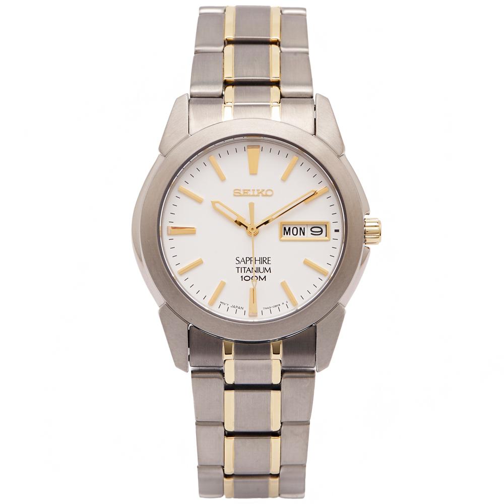 SEIKO 輕量鈦金屬手錶(SGG733P1)-白色面x金色/36mm