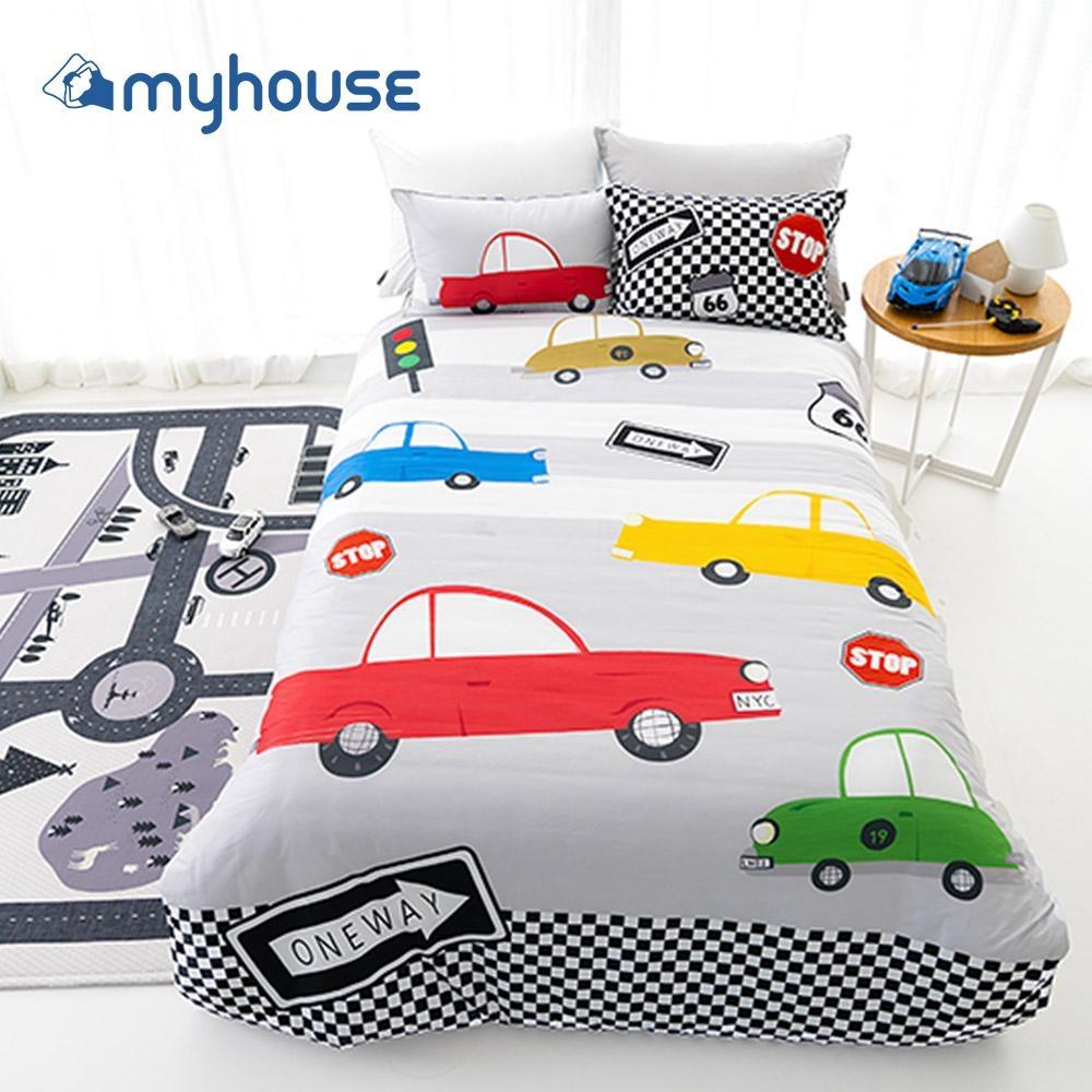 【myhouse】韓國超細纖維兩件式四季枕被組 - 瘋狂賽車
