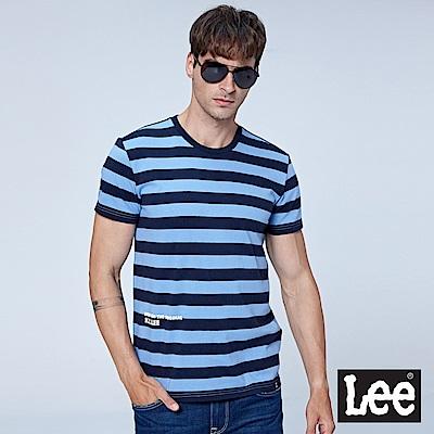 Lee 條紋短袖圓領TEE-男款-籃