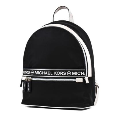MICHAEL KORS 黑白配色高密度尼龍輕量拉鍊後背包-黑色/中