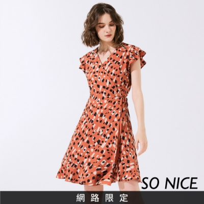 SO NICE時尚撞色幾何波浪洋裝