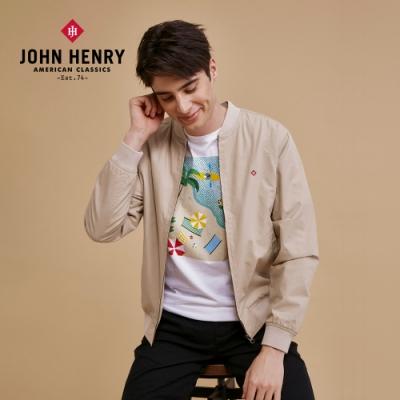 【JOHN HENRY】時髦小立領飛行夾克-卡其