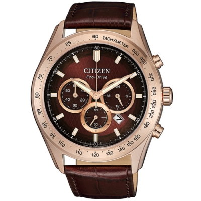 CITIZEN星辰 亞洲限定光動能菱紋三眼計時手錶-43mm(CA4452-17X)