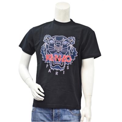 KENZO 經典紅色LOGO老虎標誌印花短袖圓領衫(黑)