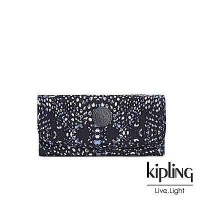 Kipling 奇幻藍羽斑紋掀蓋長夾-SUPERMONEY
