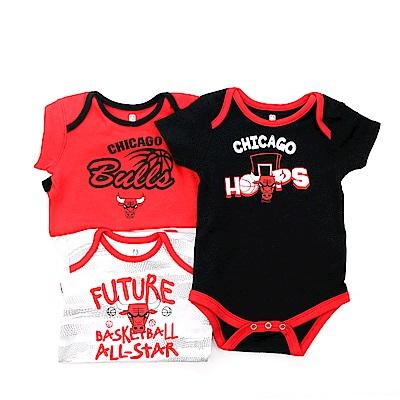 NBA 新生兒包屁衣三件組 公牛隊