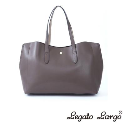 Legato Largo 驚異的輕量化 小法式輕便簡約 流線型剪裁手提袋 深棕x米色