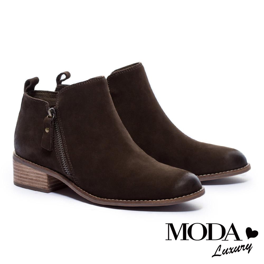 短靴 MODA Luxury 俐落剪裁率性拉鍊磨砂牛皮粗跟短靴-綠