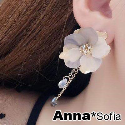 AnnaSofia 優雅氣質雙色花瓣 大型耳針耳環(金系)