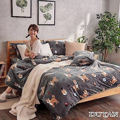 DUYAN 竹漾-100%法蘭絨-雙人加大床包兩用毯被四件組-柴犬樂園