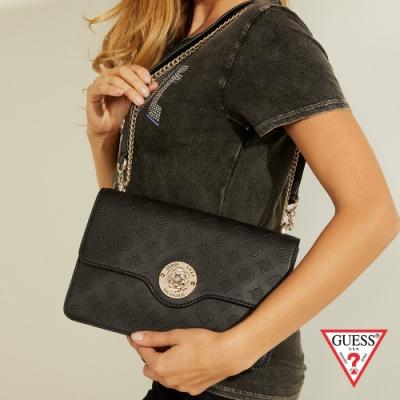 GUESS-女包-氣質金屬裝飾LOGO壓印鍊條肩背包-黑 原價2890