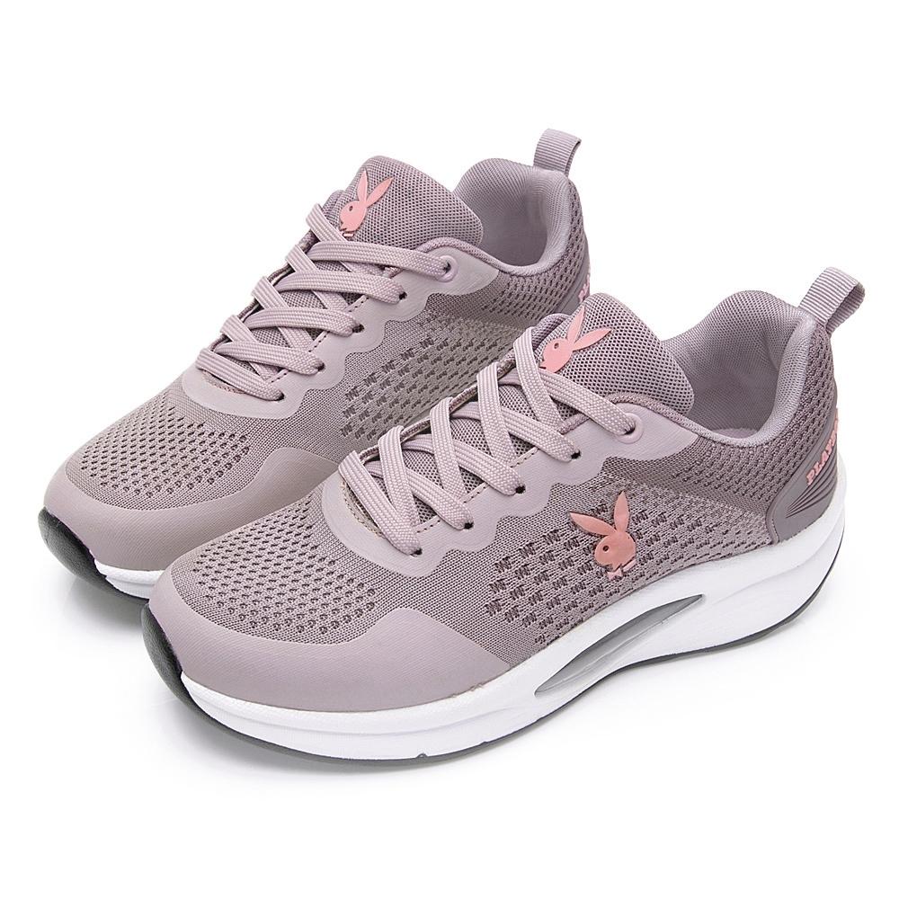 PLAYBOY 輕量飛織 足弓氣墊休閒鞋-粉紫-Y72379A