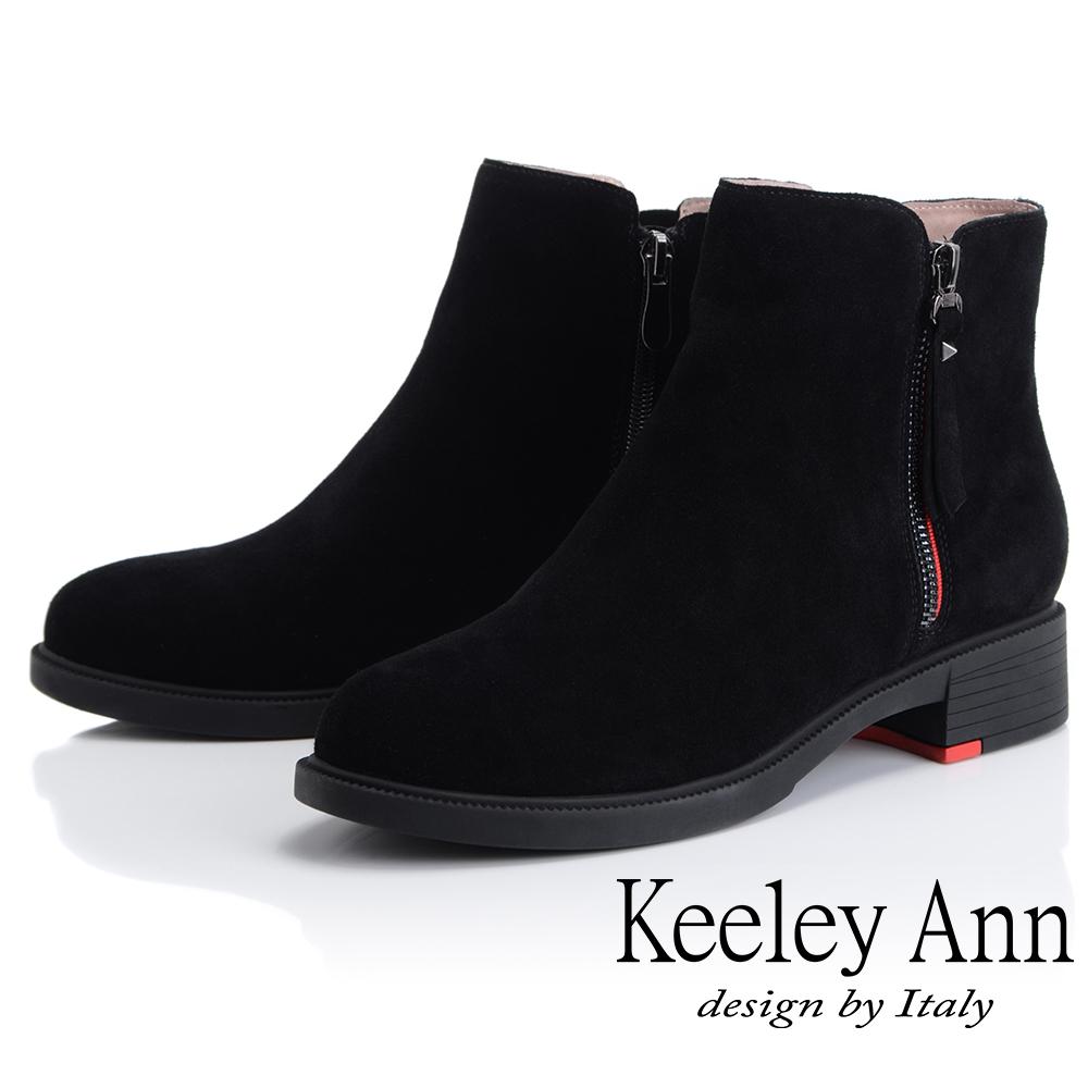 Keeley Ann 率性街頭~百搭素面側邊拉鏈短靴(黑色-Ann)