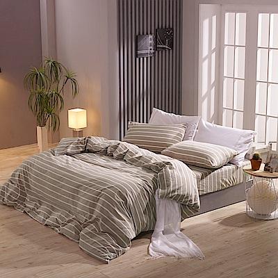 鴻宇 雙人特大床包薄被套組 色織水洗棉 魯伯特 台灣製